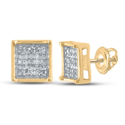 Yellow-tone Sterling Silver Womens Round Diamond Square Earrings 1/20 Cttw