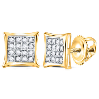 Yellow-tone Sterling Silver Womens Round Diamond Square Kite Earrings 1/10 Cttw