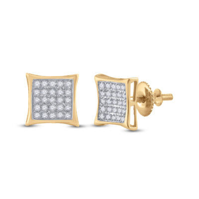 Yellow-tone Sterling Silver Womens Round Diamond Kite Square Earrings 1/6 Cttw