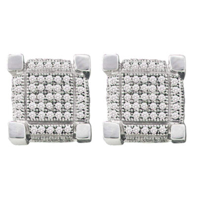 10kt White Gold Mens Round Pave-set Diamond 3D Cube Square Cluster Earrings 1/4 Cttw