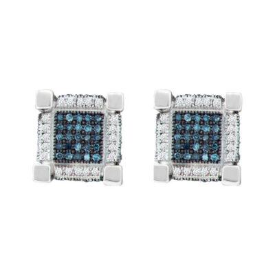 10kt White Gold Mens Round Blue Color Enhanced Diamond 3D Cube Square Earrings 3/4 Cttw