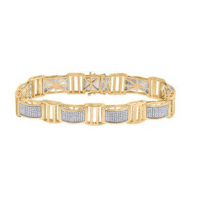 10kt Yellow Gold Mens Round Diamond Link Bracelet 2 Cttw