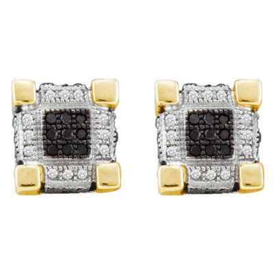 10kt Yellow Gold Mens Round Black Color Enhanced Diamond Square Earrings 1/3 Cttw
