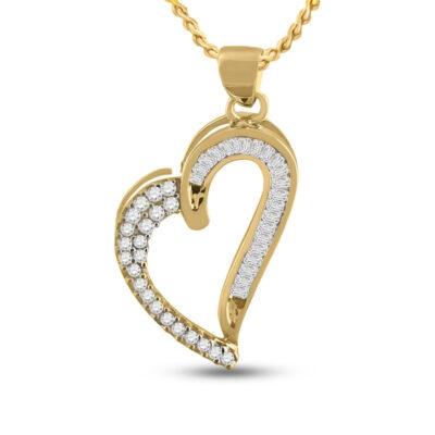 10kt Yellow Gold Womens Round Baguette Diamond Heart Pendant 1/4 Cttw