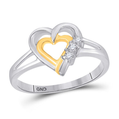 Two-tone Sterling Silver Womens Round Diamond Heart Ring .03 Cttw
