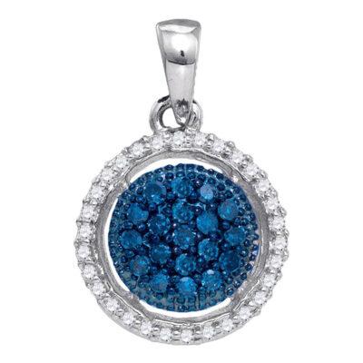10kt White Gold Womens Round Blue Color Enhanced Diamond Circle Cluster Pendant 1/5 Cttw
