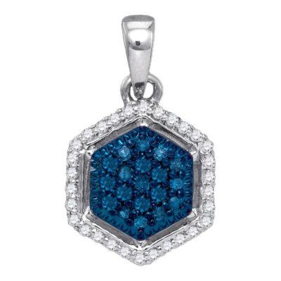 10kt White Gold Womens Round Blue Color Enhanced Diamond Hexagon Cluster Pendant 1/5 Cttw