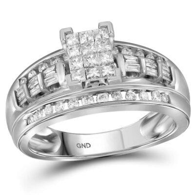 10kt White Gold Princess Diamond Cluster Bridal Wedding Engagement Ring 1/2 Cttw - Size 8