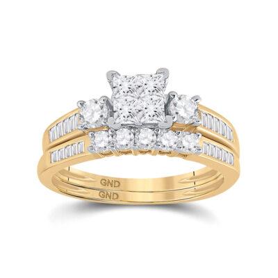 10kt Yellow Gold Princess Diamond Bridal Wedding Ring Band Set 1 Cttw - Size 5