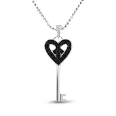 Sterling Silver Womens Round Black Color Enhanced Diamond Key Heart Pendant 1/10 Cttw