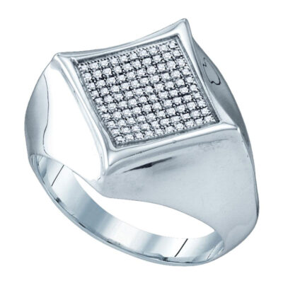 Sterling Silver Mens Round Diamond Concave Cluster Ring 1/3 Cttw
