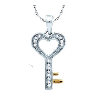 Sterling Silver Womens Round Diamond Heart Key Love Pendant 1/20 Cttw