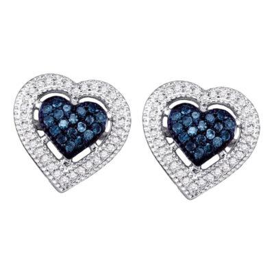 10kt White Gold Womens Round Blue Color Enhanced Diamond Heart Earrings 3/8 Cttw