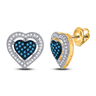 10kt Yellow Gold Womens Round Blue Color Enhanced Diamond Heart Earrings 3/8 Cttw