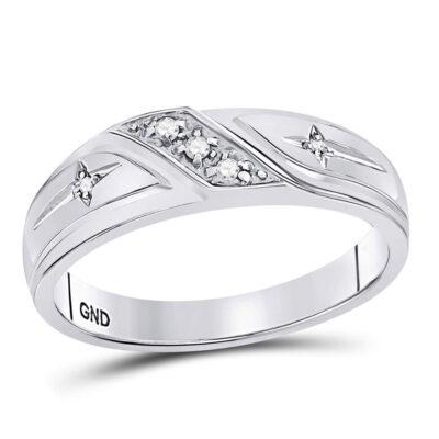 10k White Gold Round Diamond Mens Cross Wedding Anniversary Band Ring 1/20 Cttw