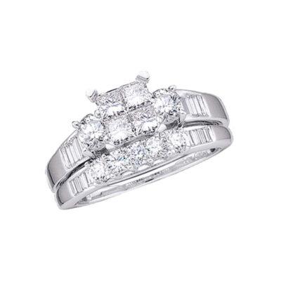 10kt White Gold Princess Diamond Bridal Wedding Ring Band Set 1 Cttw Size 10