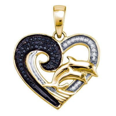 Yellow-tone Sterling Silver Black Color Enhanced Diamond Dolphin Heart Pendant 1/6 Cttw