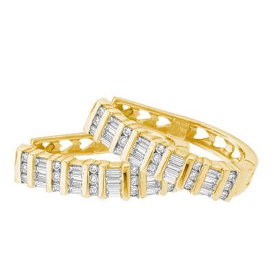 Yellow-tone Sterling Silver Womens Baguette Diamond Hoop Earrings 1/4 Cttw