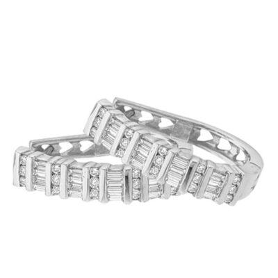 Sterling Silver Womens Baguette Round Diamond Hoop Earrings 1/4 Cttw