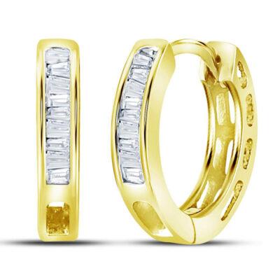 Yellow-tone Sterling Silver Womens Baguette Diamond Huggie Earrings 1/6 Cttw