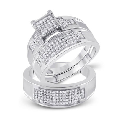 Sterling Silver His Hers Round Diamond Square Matching Wedding Set 1/2 Cttw