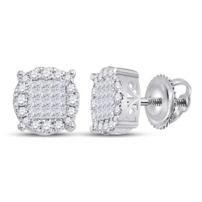 14kt White Gold Womens Princess Diamond Fashion Cluster Earrings 1 Cttw
