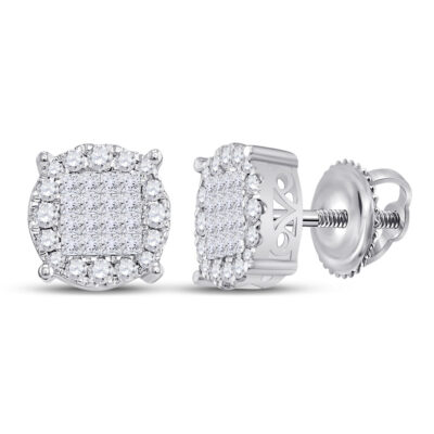 14kt White Gold Womens Princess Diamond Fashion Cluster Earrings 1/2 Cttw