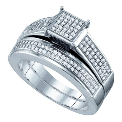 Sterling Silver Diamond Square Cluster Bridal Wedding Ring Band Set 3/8 Cttw