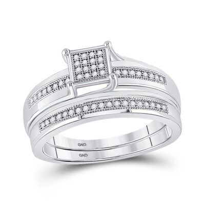 Sterling Silver Round Diamond Square Bridal Wedding Ring Band Set 1/6 Cttw
