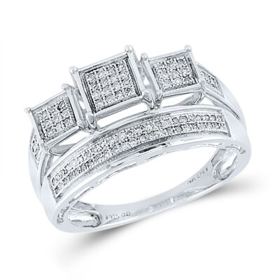 Sterling Silver Round Diamond Bridal Wedding Ring Band Set 1/3 Cttw