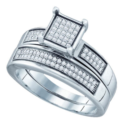 Sterling Silver Round Diamond Square Bridal Wedding Ring Band Set 1/3 Cttw