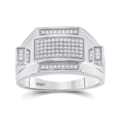 Sterling Silver Mens Round Diamond Rectangle Cluster Ring 1/4 Cttw