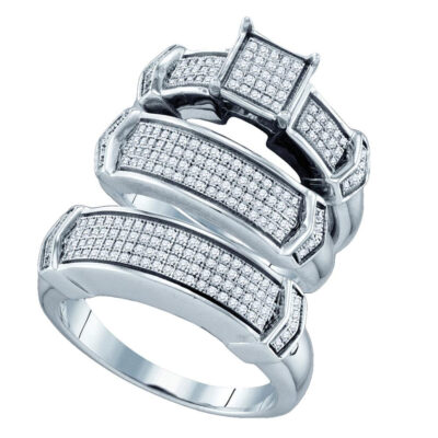 Sterling Silver His Hers Round Diamond Square Matching Wedding Set 5/8 Cttw