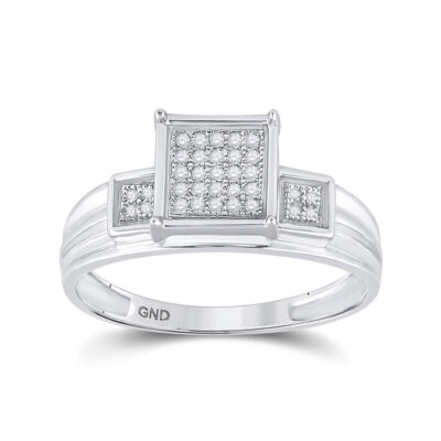 Sterling Silver Womens Round Diamond Square Cluster Ring 1/10 Cttw