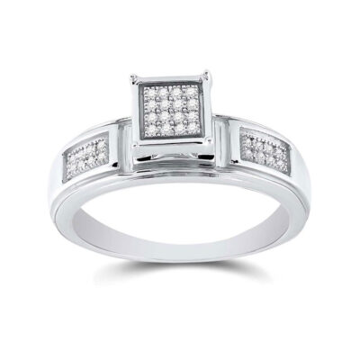 Sterling Silver Womens Round Diamond Square Ring 1/10 Cttw