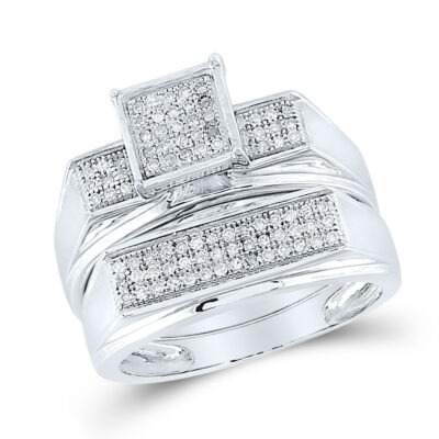 Sterling Silver Round Diamond Square Bridal Wedding Ring Band Set 1/4 Cttw