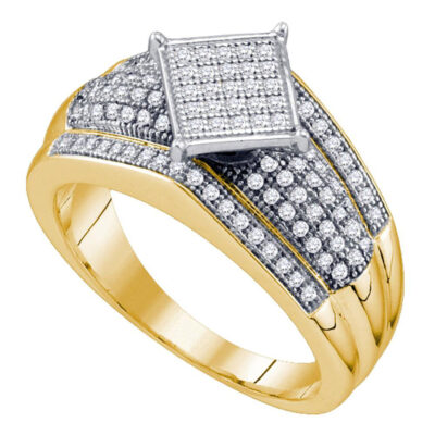 Yellow-tone Sterling Silver Womens Round Diamond Elevated Square Cluster Ring 1/3 Cttw