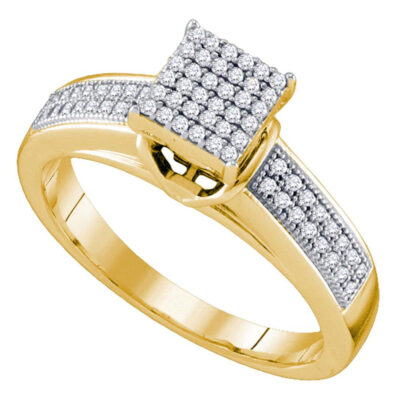 Yellow-tone Sterling Silver Round Diamond Cluster Bridal Wedding Engagement Ring 1/4 Cttw