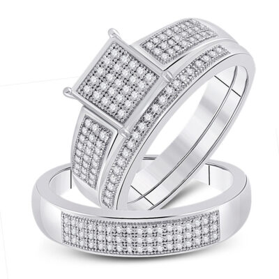 Sterling Silver His Hers Round Diamond Square Matching Wedding Set 3/8 Cttw