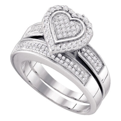 Sterling Silver Round Diamond Heart Bridal Wedding Ring Band Set 3/8 Cttw