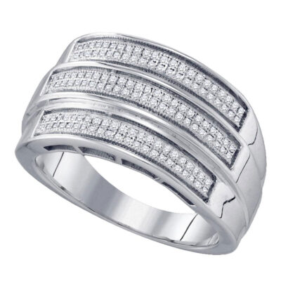 Sterling Silver Mens Round Diamond Triple Row Band Ring 3/8 Cttw