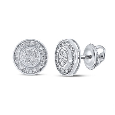 Sterling Silver Mens Round Diamond Circle Disk Stud Earrings 1/5 Cttw