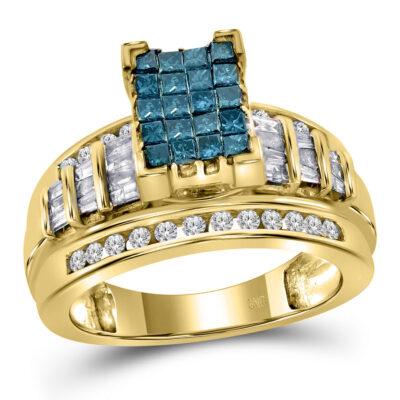 14kt Yellow Gold Princess Blue Color Enhanced Diamond Bridal Wedding Ring 1 Cttw Size 9