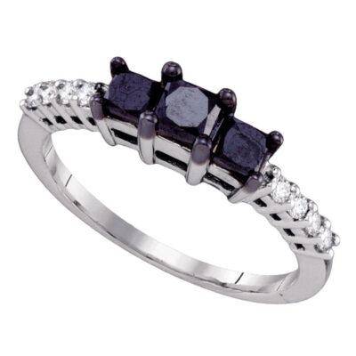 10kt White Gold Round Black Color Enhanced Diamond 3-stone Bridal Engagement Ring 1 Cttw
