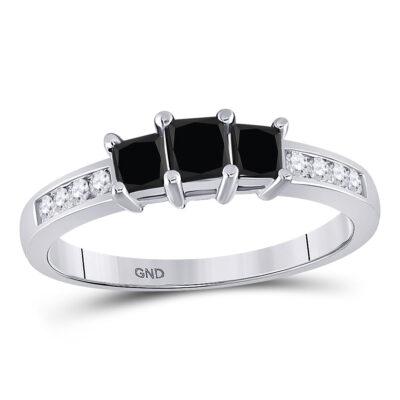 10kt White Gold Princess Black Color Enhanced Diamond 3-stone Bridal Ring 7/8 Cttw
