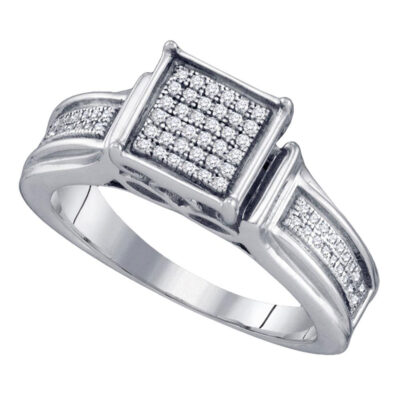 Sterling Silver Womens Round Diamond Square Cluster Ring 1/5 Cttw
