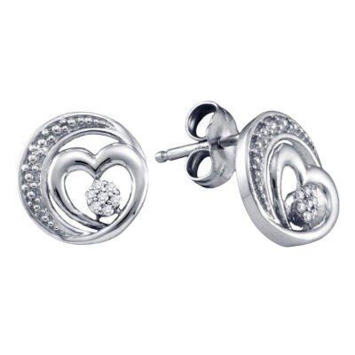 Sterling Silver Womens Round Diamond Heart Earrings 1/20 Cttw