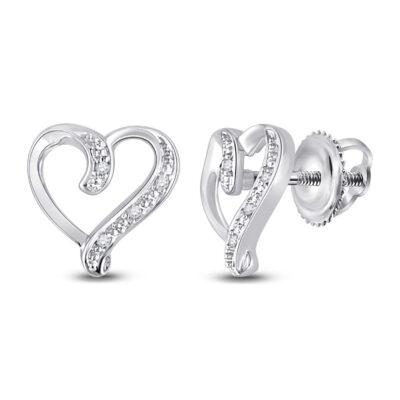 Sterling Silver Womens Round Diamond Heart Earrings .02 Cttw
