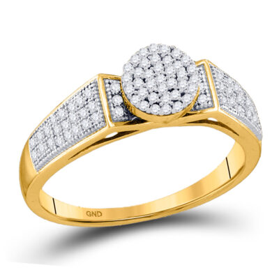 10kt Yellow Gold Round Diamond Cradled Cluster Bridal Ring 1/4 Cttw