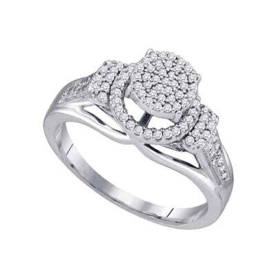 10kt White Gold Round Diamond Cluster Bridal Wedding Engagement Ring 1/3 Cttw